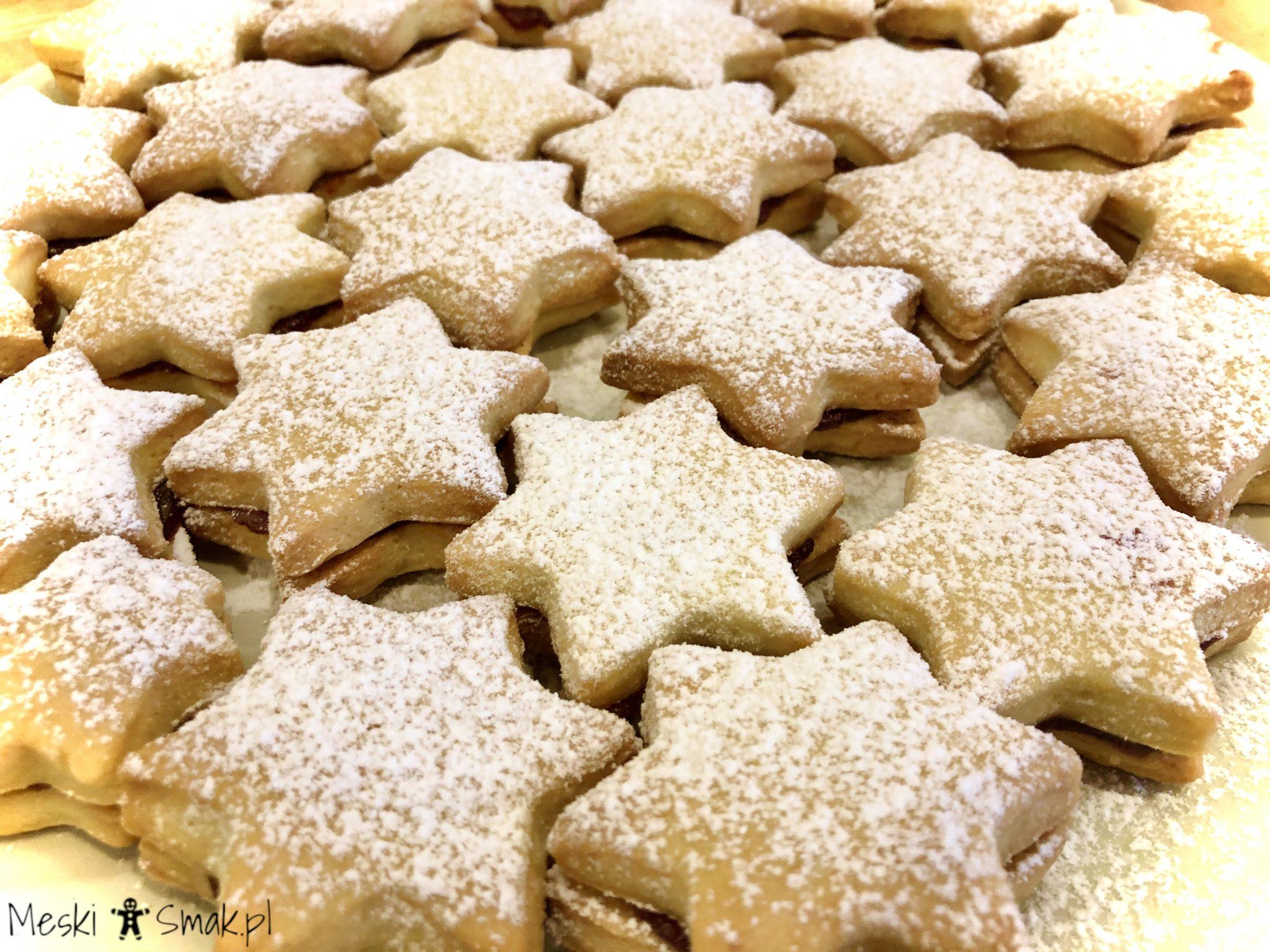 Gwiaździste kruche ciasteczka przekładane powidłami 2